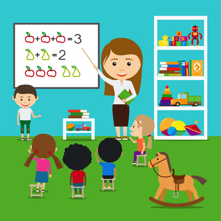 teacher classroom: Teacher teaching kids in kindergarten. Vector preschool educational concept