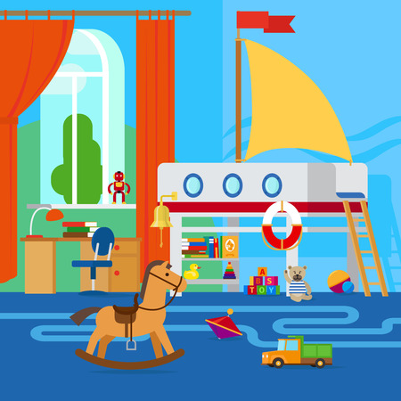 Childrens room interior with furniture and toys Illustration