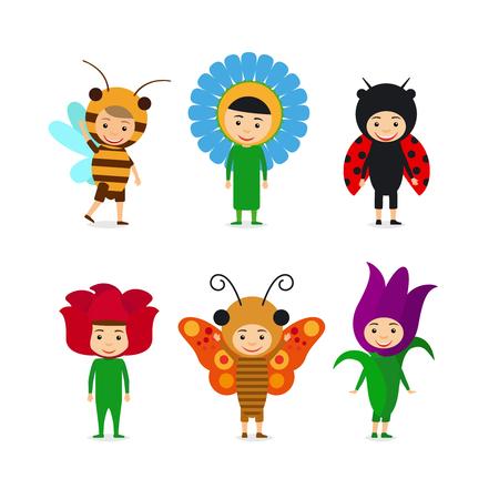 mariquitas: Niños en insectos y flores vestidos de lujo. Vector conjunto de caracteres niños