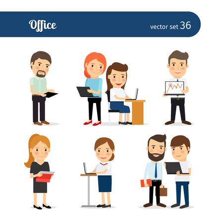 Mensen van het bureau. Business mannen en vrouwen samenwerken in de kantoorruimte Stock Illustratie