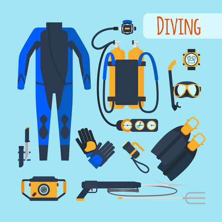 diving: Diving equipment. Mask and snorkel, oxygen tanks and wetsuit. Vector illustration