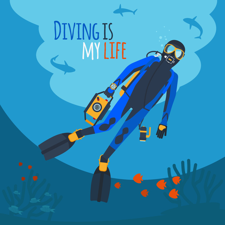 Diving illustration. Diver underwater diver surrounded by fish and corals