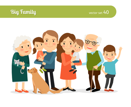 abuelos: Retrato de familia grande. Mamá y papá, abuelos, hijos y un perro Vectores