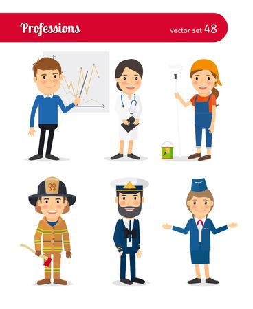 bombera: Gente profesiones. Médico y asistente de vuelo, bombero y capitán de barco