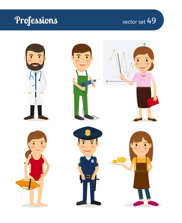 occupation: People occupation characters. Policeman and lifeguard, waitress and repairman