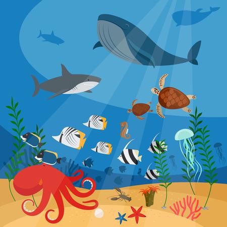 ecosistema: Océano de vectores de fondo bajo el agua con peces, corales y algas