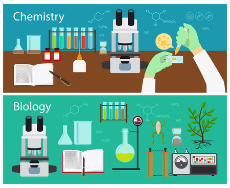 laboratory research: Chemistry and biology research vector banners set