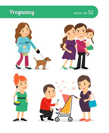 Naissance de bébé dans la famille heureuse. les femmes et les nouveau-nés avec enceintes Banque d'images - 48096302