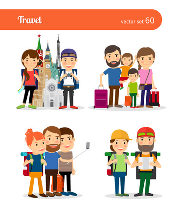 people traveling: Traveling family and traveling couple vector people