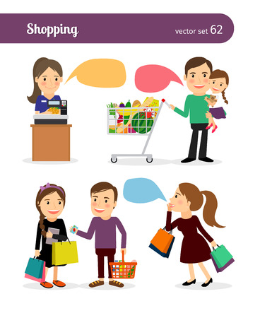 shopping people: Family shopping. People with shopping bags and speech bubbles