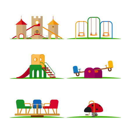 Kids playground elements vector. Carousel and children slide, swing and castle 向量圖像