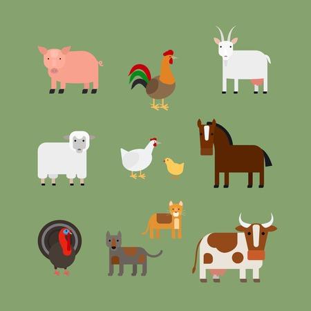 gallo: Animales de granja. Cerdo y el caballo gallo y una vaca vector iconos