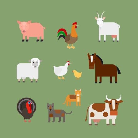 rooster: Farm animals. Pig and rooster horse and a cow vector icons