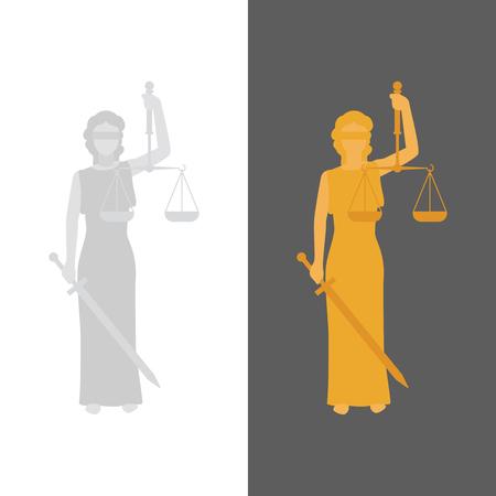 Lady Justice. Vettore Justitia in stile piatta Vettoriali