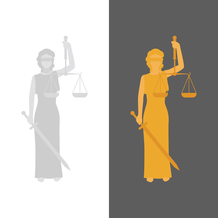 estatua de la justicia: Se�ora Justicia. Vector Justitia en estilo plana