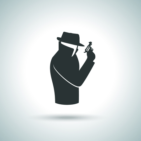 cartoon gangster: Secret service agent. Man in suit with gun icon Illustration