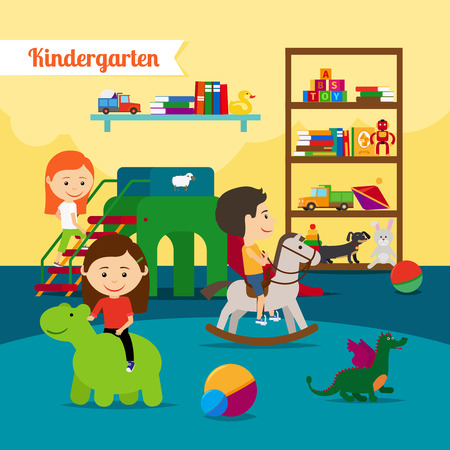 jardin de infantes: Jardín de infancia. Niños jugando en el jardín más amable. Ilustración vectorial