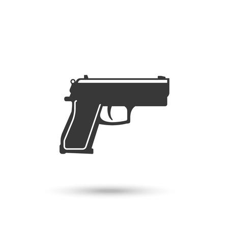 hand gun: Powerful pistol or hand gun icon vector on white