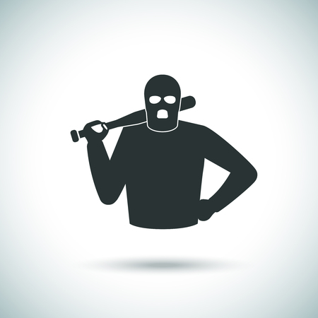 hoodlum: Criminal hoodlum icon. Pillager in mask and with cudgel vector silhouette