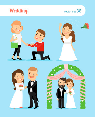 proposal: Wedding pictures. Bride and groom, proposal of marriage