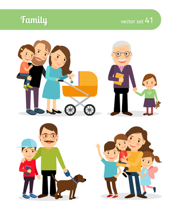 niño parado: personajes de la familia feliz. Los padres y los niños. ilustración vectorial