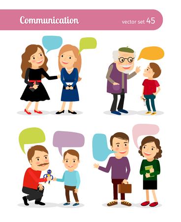 personas comunicandose: conversaciones personas. Diálogos con burbujas de discurso. ilustración vectorial