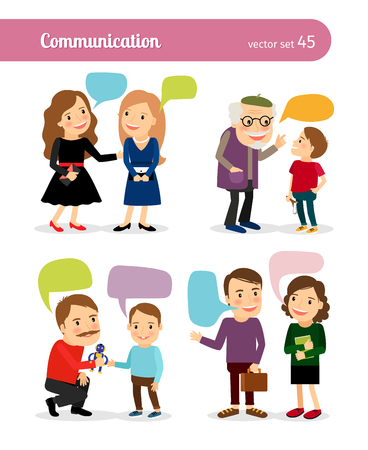 white people: People conversations. Dialogues with speech bubbles. Vector illustration