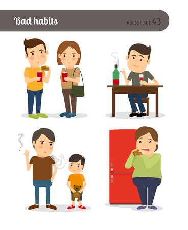 overeating: Bad habits. Drunkenness and overeating. Unhealthy lifestyle. Vector illustration