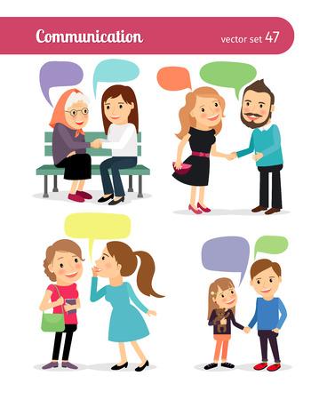 Mensen met tekstballonnen, praten met elkaar. Vector illustratie.