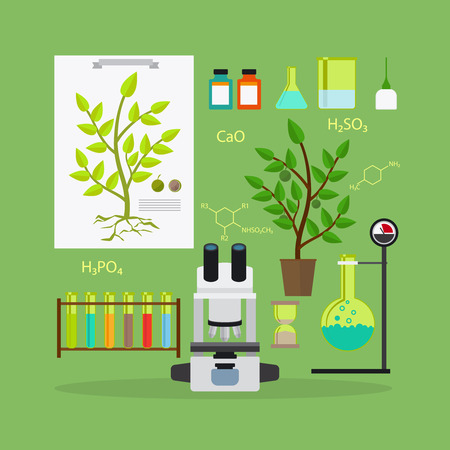 biology: Biology research laboratory equipment icons. Vector illustration.