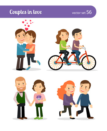 love couples: Romantic couples being together and walking, talking and riding bike. Vector illustration. Illustration