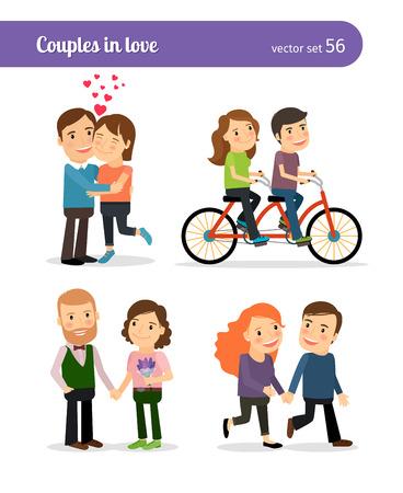Romantische koppels samen zijn en wandelen, praten en rijden fiets. Vector illustratie.