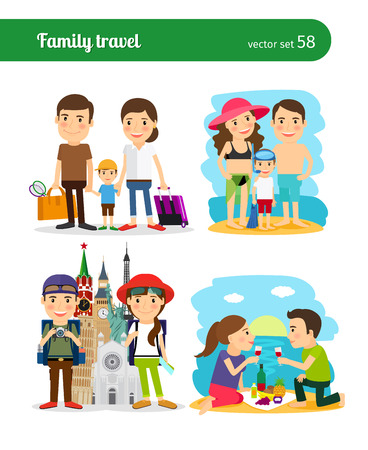summer holiday: Family travel people. Rest on the beach and sightseeing. vector illustration.