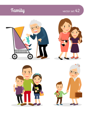 family fun: Grandfather and granddaughter, grandmother and grandson. Happy family Illustration
