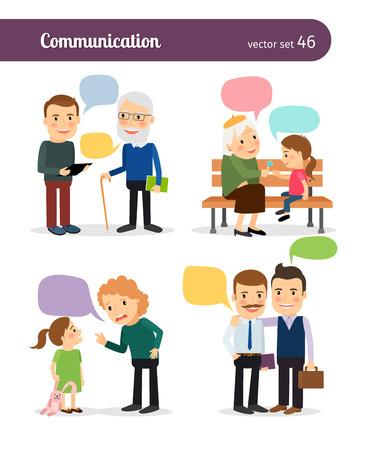 ni�os pensando: Los personajes con burbujas de discurso. Colegas y superiores, padres e hijos.