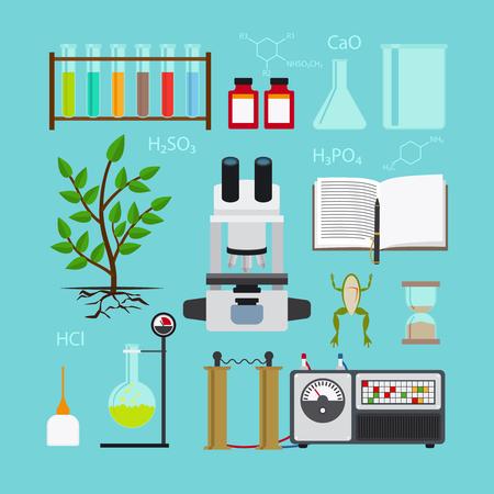 BIOLOGIA: La biología y la química de laboratorio iconos. Ilustración del vector.