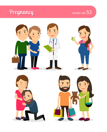 pregnant mom: Pregnancy. Healthy eating and seeing doctor, shopping. Expecting mother daily routine. Vector illustration.