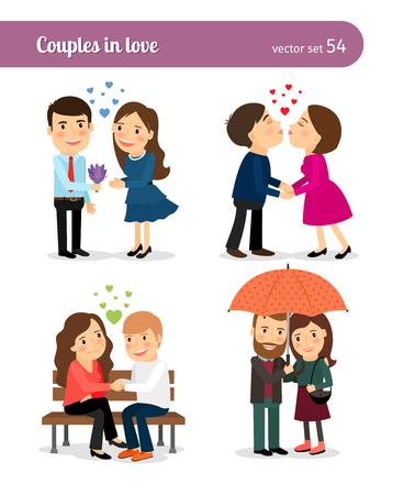 Coppia in amore. Prima data e baciare, che presenta i fiori e camminare insieme. Illustrazione vettoriale.