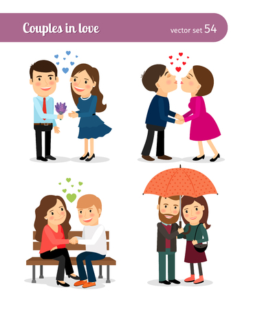 Couple in love. First date and kissing, presenting flowers and walking together. Vector illustration.