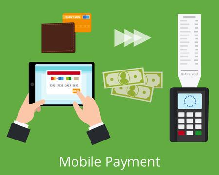banking concept: Mobile payment concept. Non-cash payment scheme. Vector illustration.