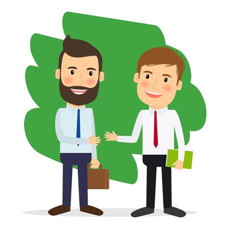 Accordo commerciale. Gli uomini d'affari si stringono la mano o achiving accordo. Illustrazione vettoriale.