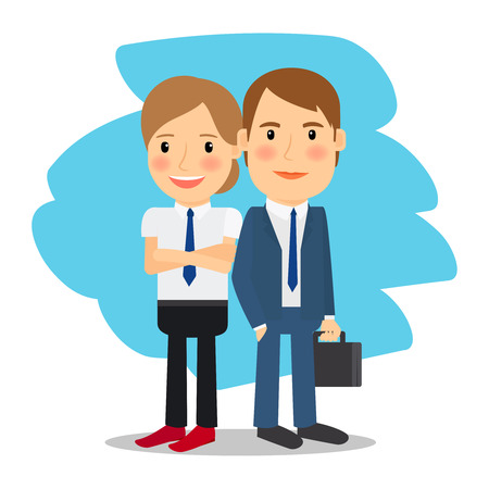 business woman standing: Business partners. Business man and business woman standing together. Vector illustration.