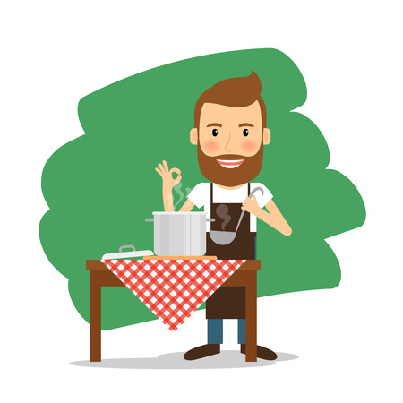 meal preparation: Man cooking at home and smiling. Meal preparation. Vector illustration.