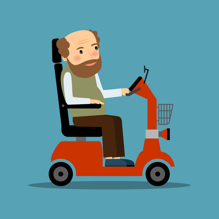 crippled: Man in motorized Wheelchair driving by himself. Vector illustration.
