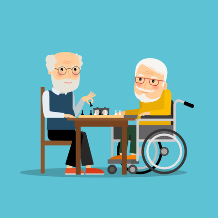 sitting at table: Game of chess. Two old men playing chess. Vector illustration.