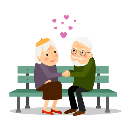 grandparents: Senior couple in love. Elderly people siiting on bench together. Vector illustration.