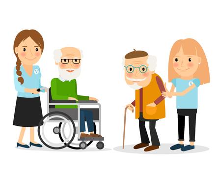 La cura per gli anziani, aiutare muoversi e passare del tempo insieme. Illustrazione vettoriale.