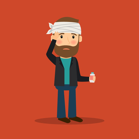 recovering: Headache man with bandage on his head and medicine. Vector illustration. Illustration