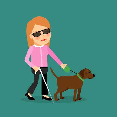 blind girl: Blind woman with a guide dog walking together. Vector illlustration.