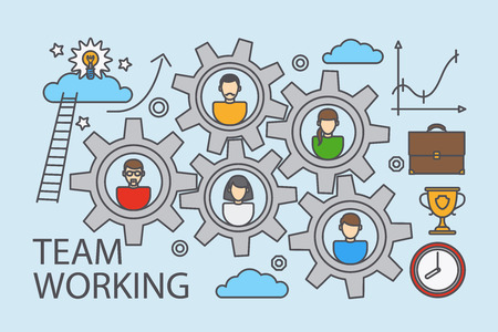 collaboration: Teamwork and collaboration business concept in doodle line style for banners and backgrounds. Vector illustration